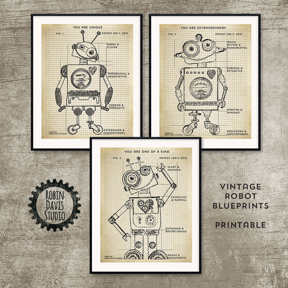 Robot Blueprints by Robin Davis Studio