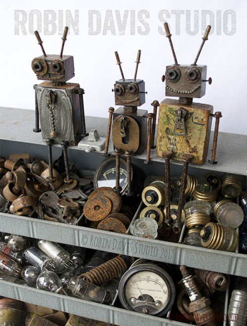 Steampunk robots by Robin Davis Studio