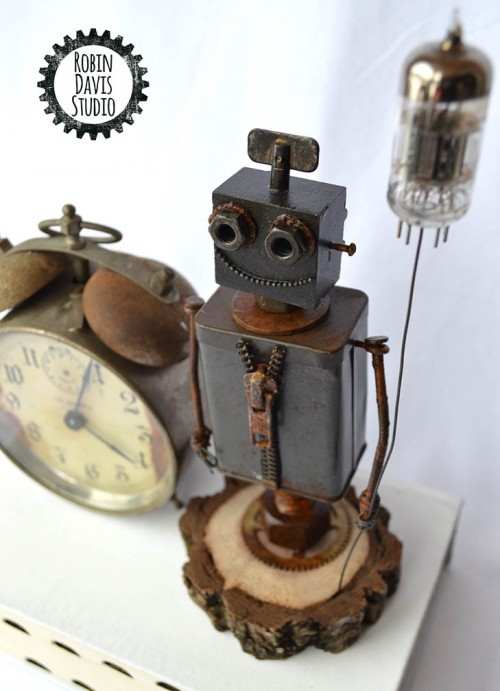 Retro Wood Robots by Robin Davis Studio