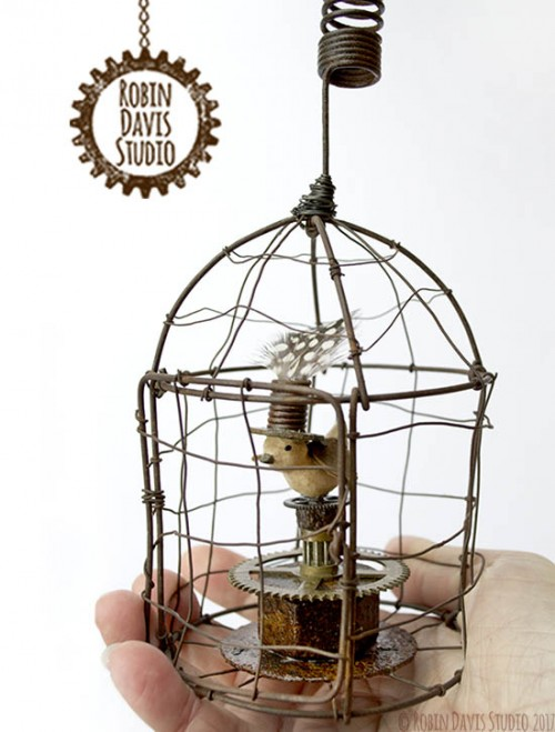 Steampunk bird cage by Robin Davis Studio