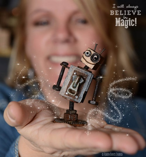 Mini Robot Sculptures by Robin Davis Studio